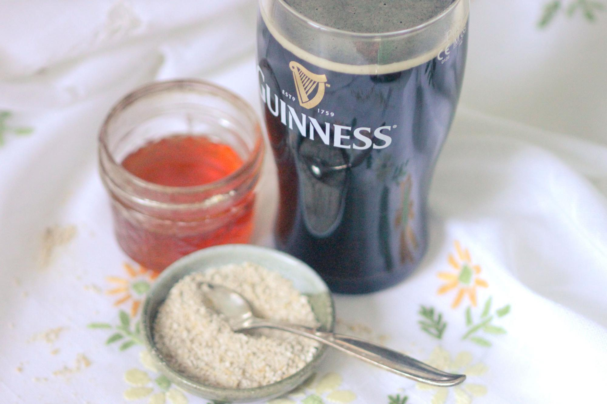 Guinness beer, oat, and honey acne fighting face mask; Guinness beer hair rinse