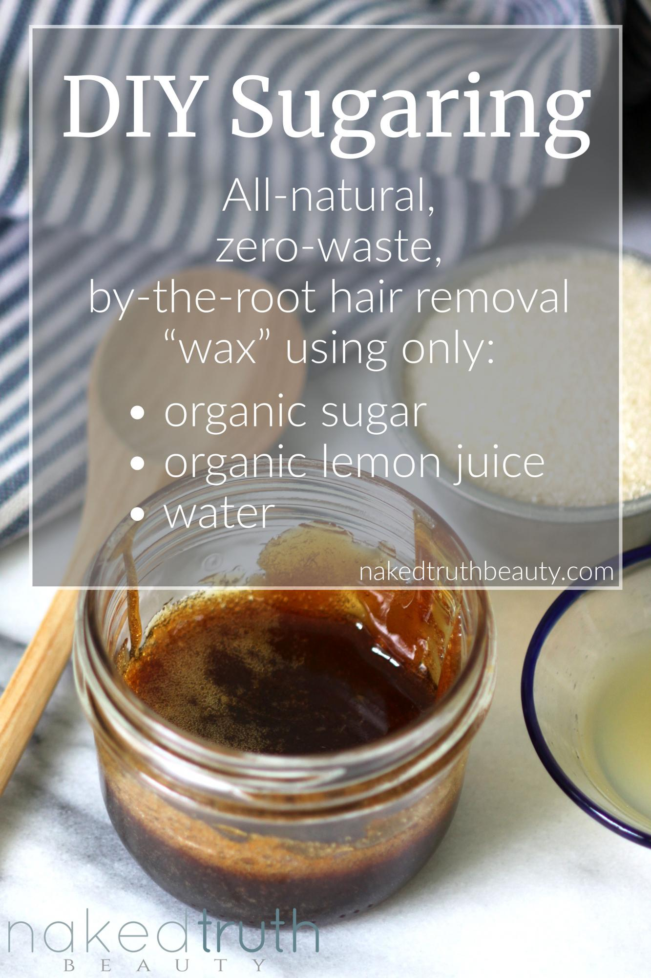 DIY sugaring wax for all natural, zero waste, easy, at home, by the root hair removal. How to make and use sugaring wax.